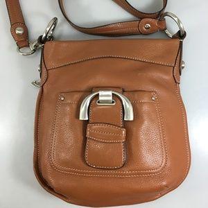 B Makowsky Brown Pebbled Leather Crossbody Bag